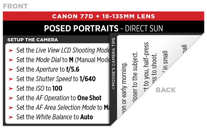 Sample Canon 77D Cheat Sheet