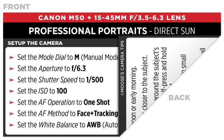 Sample Canon M50 Cheat Sheet