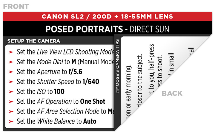 Sample Canon Rebel SL2 (EOS 200D) Cheat Sheet