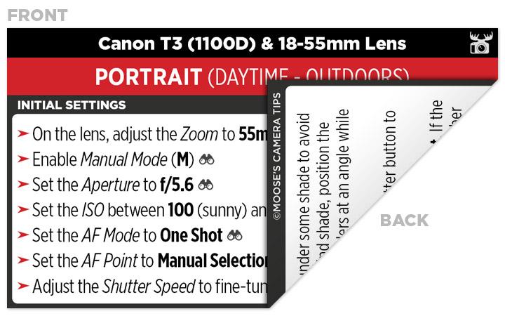 Sample Canon T3 (1100D) Cheat Sheet
