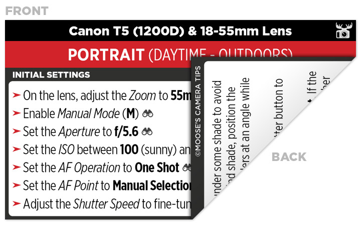 Sample Canon T5 (1200D) Cheat Sheet