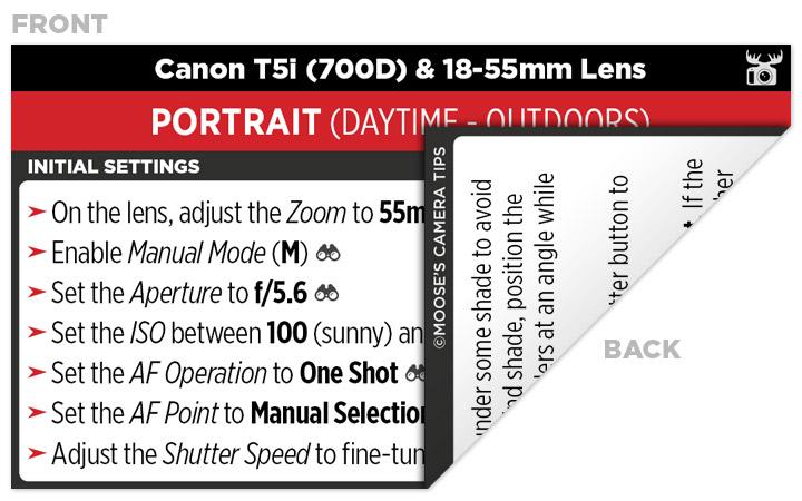 Sample Canon T5i (700D) Cheat Sheet