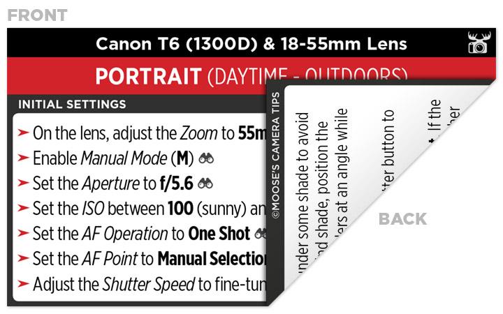 Sample Canon T6 (1300D) Cheat Sheet