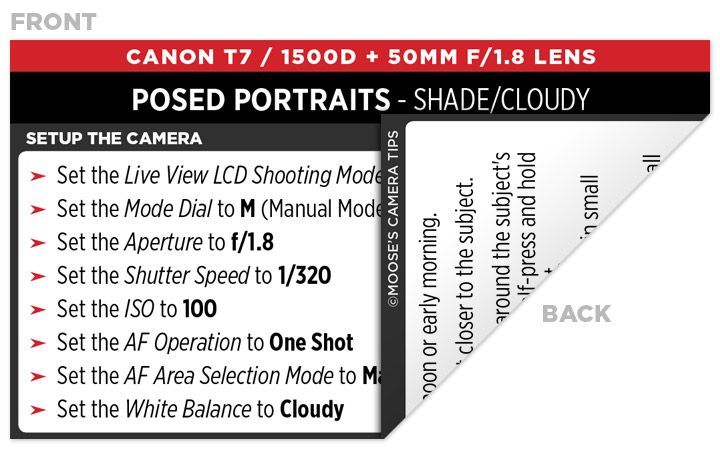Sample Canon Rebel T7 (EOS 1500D) Cheat Sheet