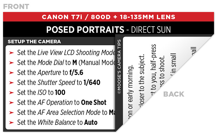 Sample Canon Rebel T7i (EOS 800D) Cheat Sheet