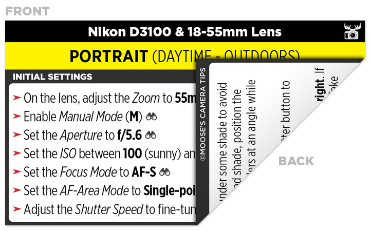 Sample Nikon D3100 Cheat Sheet