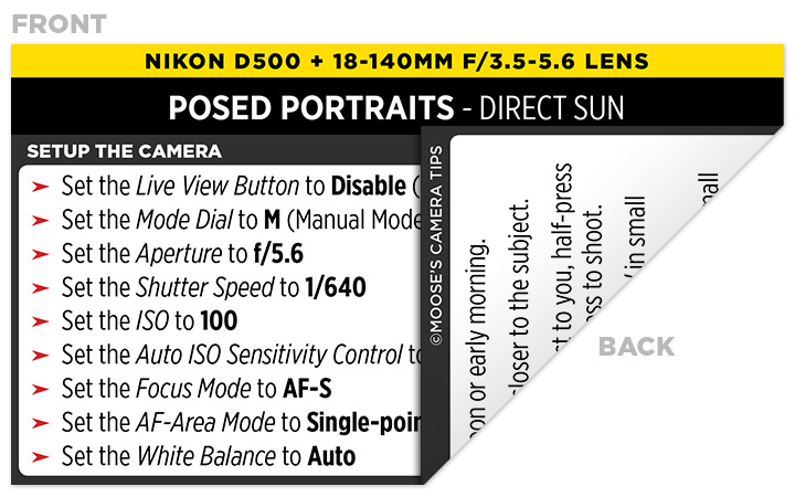 Sample Nikon D500 Cheat Sheet