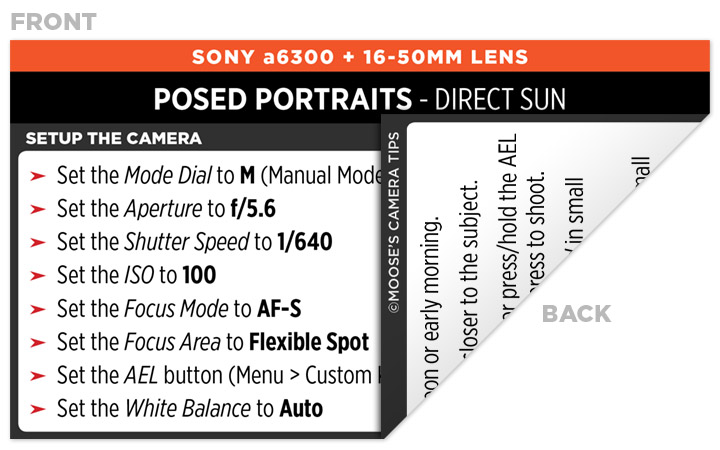 Sample Sony a6300 Cheat Sheet